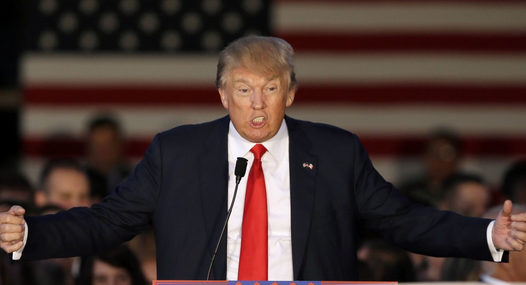 Republican presidential candidate, businessman Donald Trump speaks during a rally at Urbandale High School, Saturday, Sept. 19, 2015, in Urbandale, Iowa. (AP Photo/Charlie Neibergall)