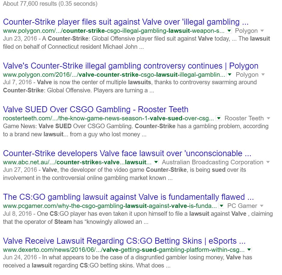 Counter Strike Lawsuit