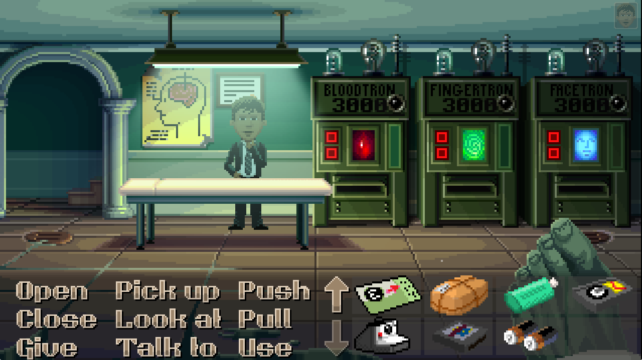 Machines automate everything from movie rentals to police investigations in Thimbleweed Park.