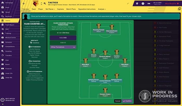 FM19 - tactics screen