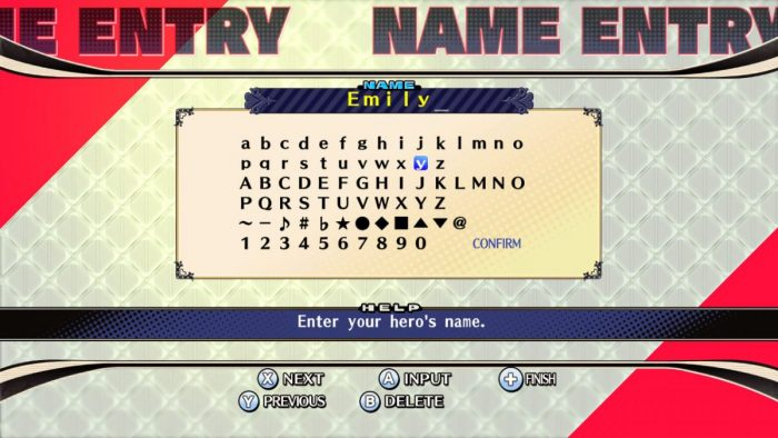 The Princess Guide | Name Entry Screen