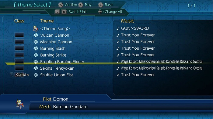 Super Robot Wars T | Burning (God) Gundam's Music Settings