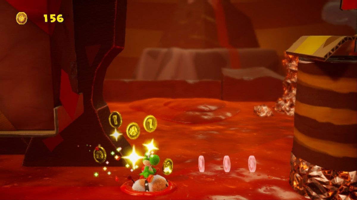 Poochy's Magma Run Collectibles (Yoshi's Crafted World Guide)