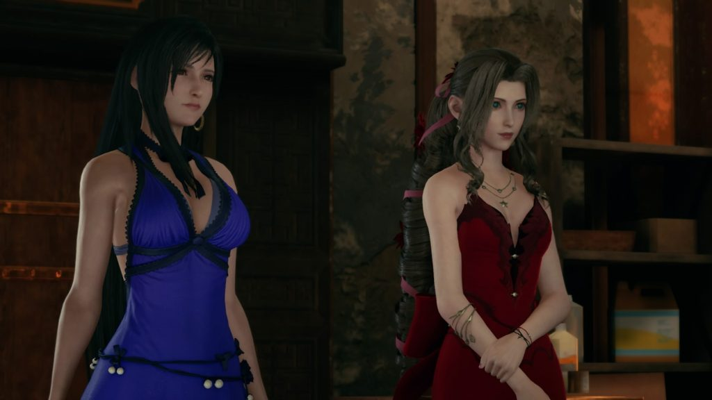 Tifa and Aerith's best dress options shown here in our Final Fantasy VII Remake Dress Guide