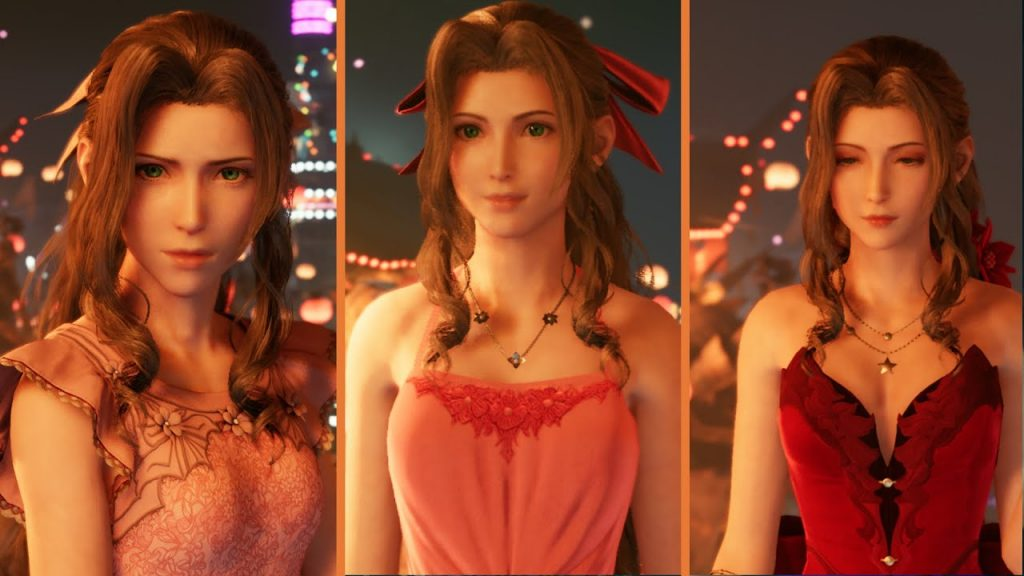 Aerith's different dresses available in-game shown here on our Final Fantasy VII Remake Dress Guide