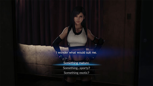 Tifa outright asks what to wear as shown here in our final fantasy vii remake dress guide