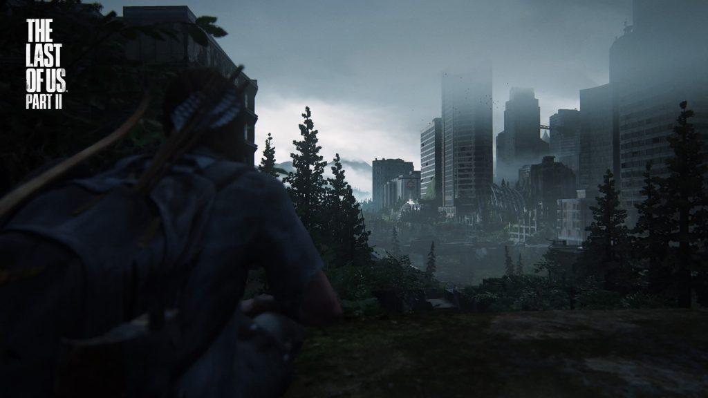 Ellie looks at Seattle's hospital in Last of Us Part II