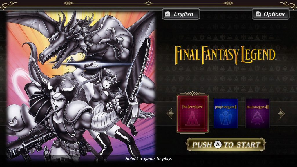 This piecture contains the Collection of SAGA Final Fantasy Legend title screen featuring art from the original Final Fantasy Legend.