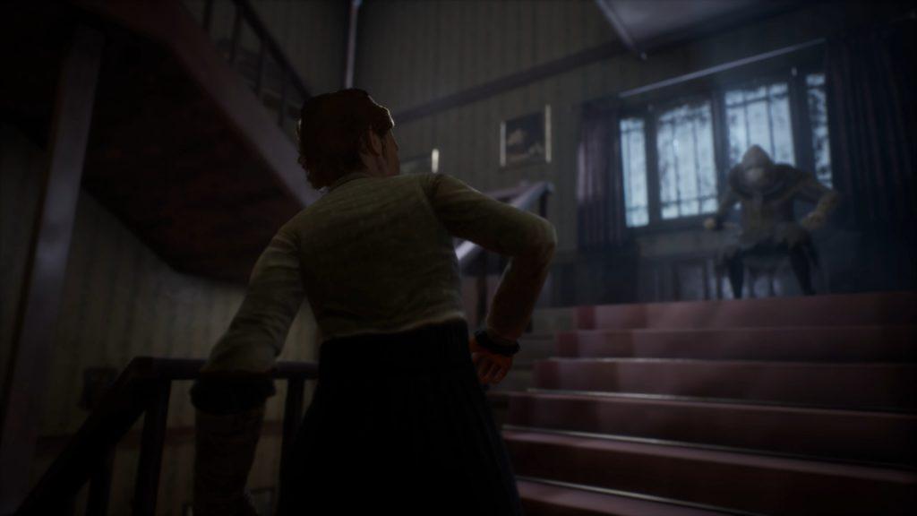 Remothered Broken Porcelain stairwell screenshot featuring Jennifer and Porcelain
