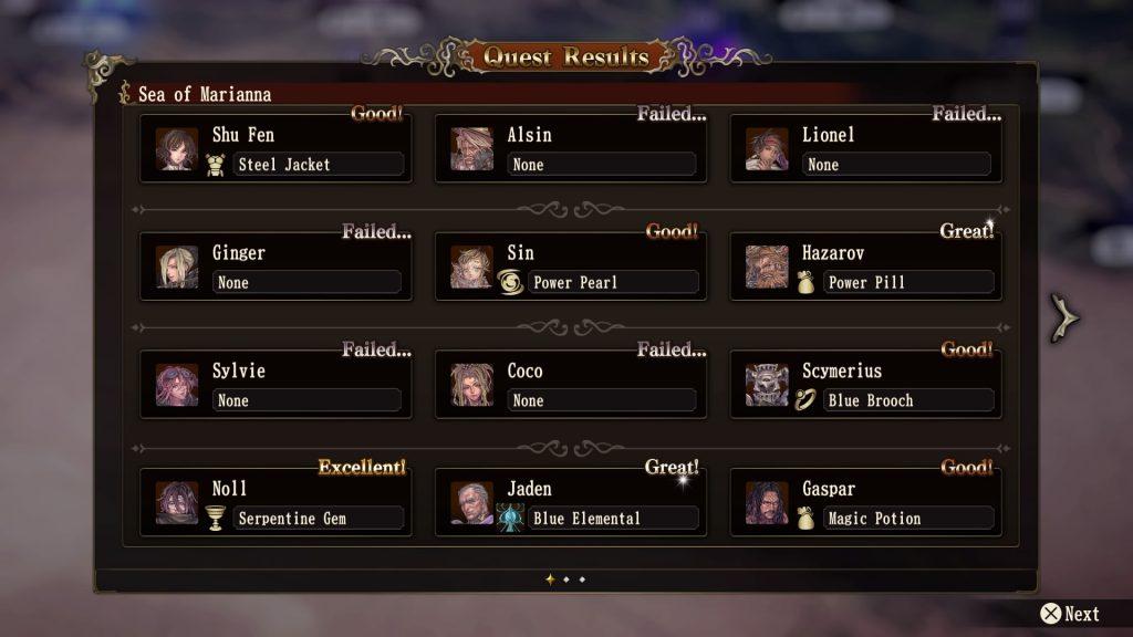 Brigandine Quest Results