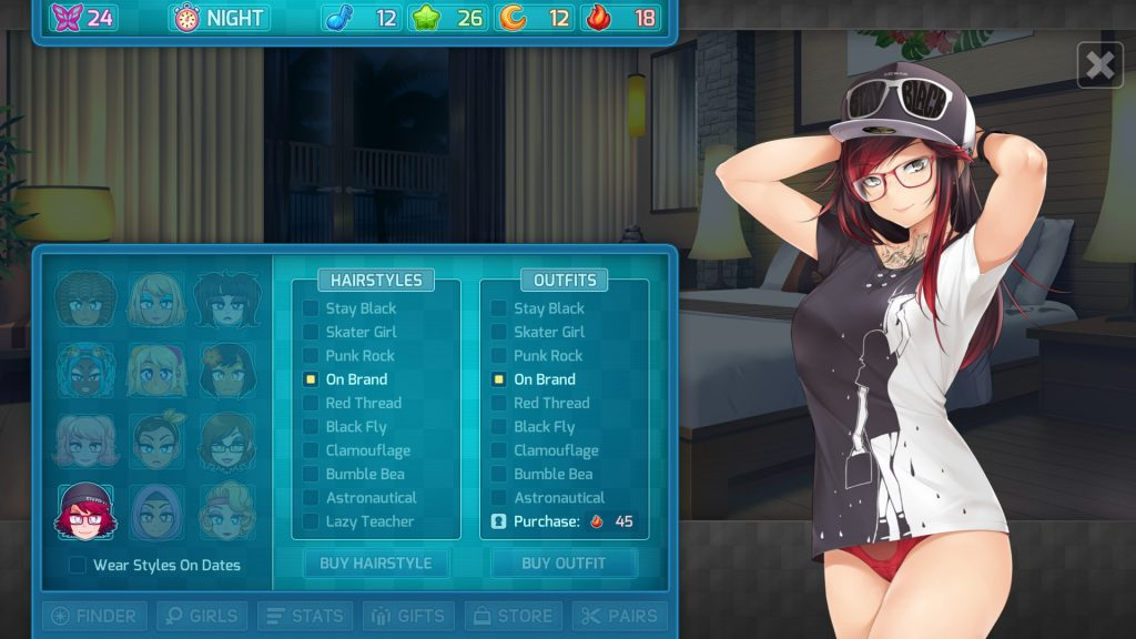 HuniePop 2 Ashley's outfits