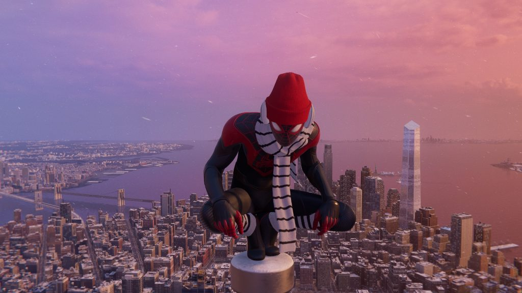 miles morales standing atop new york during wintertime