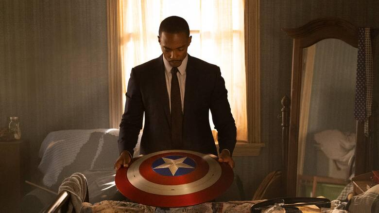 Sam as he looks over Captain America's shield