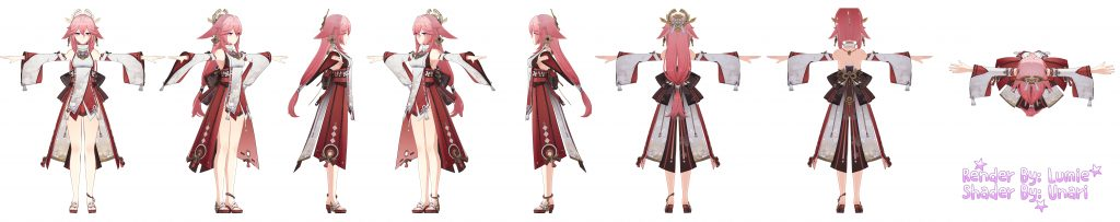 Genshin Impact, Yae, Character Renders, Inazuma, 1.7, leaks, rumors
