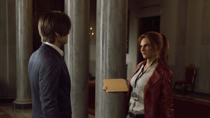 Leon speaks with claire at the white house